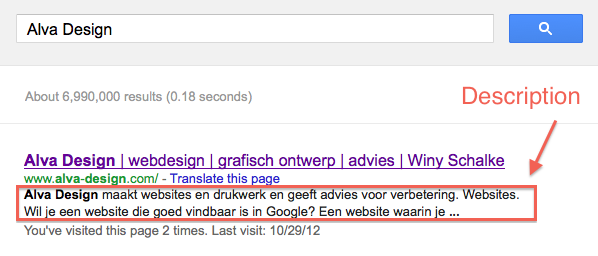 de description in de zoekresultaten van Google