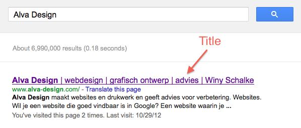 de title in de zoekresultaten van Google