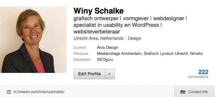 Linkedin-profiel Winy Schalke