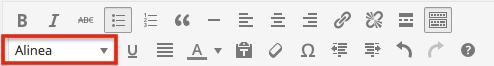 WordPress knoppenbalk met stijlkiezer