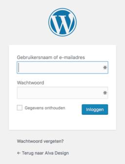 WordPress inlogvenster